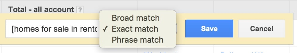 Keyword Match Typle Google PPC