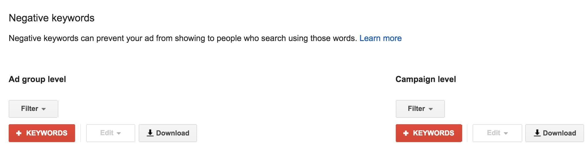 Negative Keywords in Google's Adwords PPC campaigns