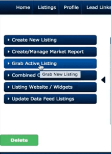 Screenshot of Listings to Leads option for grabbing a listing