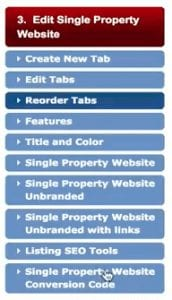 Screen shot of Listings to Leads section for editing the single property website