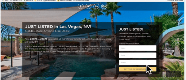 Screenshot of Listings to Leads single property landing page