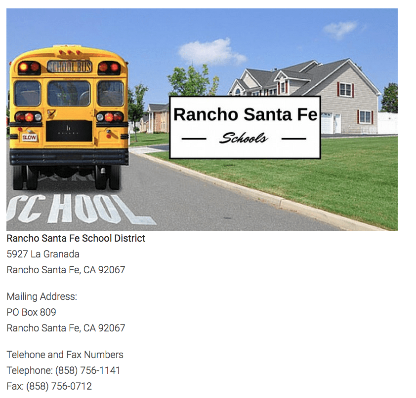 School Information on a Community Page