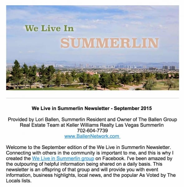 We Live in Summerlin Sample