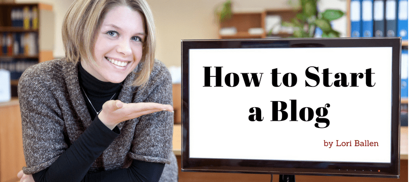 Woman is pointing to a computer with the words on it reading how to start a blog by Lori Ballen