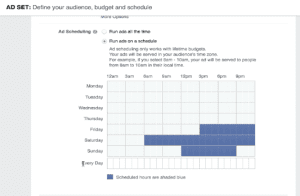 Screen Shot: Scheduling your Facebook ad by specific days and times.