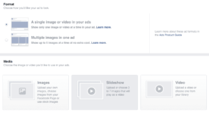 screenshot for how to create an Instagram ad with images and video