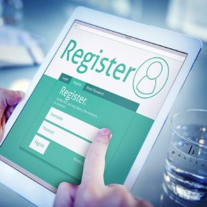 registration form on an iPad for downloading offers from lead generation marketing