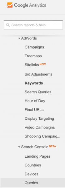 Google Analytics Keyword Reports