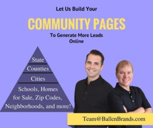 Community Pages ad for Real Estate Lead Generation with Keywords
