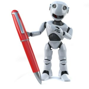Robot holding a red pen
