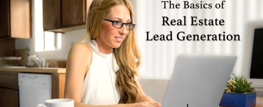 Blonde woman wearing glasses in white blouse at a home computer working on real estate lead generation