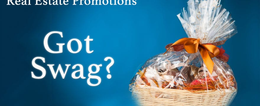 Cover image for Real Estate Promotion with Swag, featuring a gift basket on a blue background.
