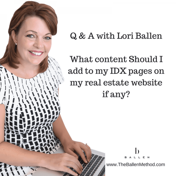"""Lori sits on the computer and answers questions about lead generation: question says """"what content should I add to my idx pages on my real estate website"""""""