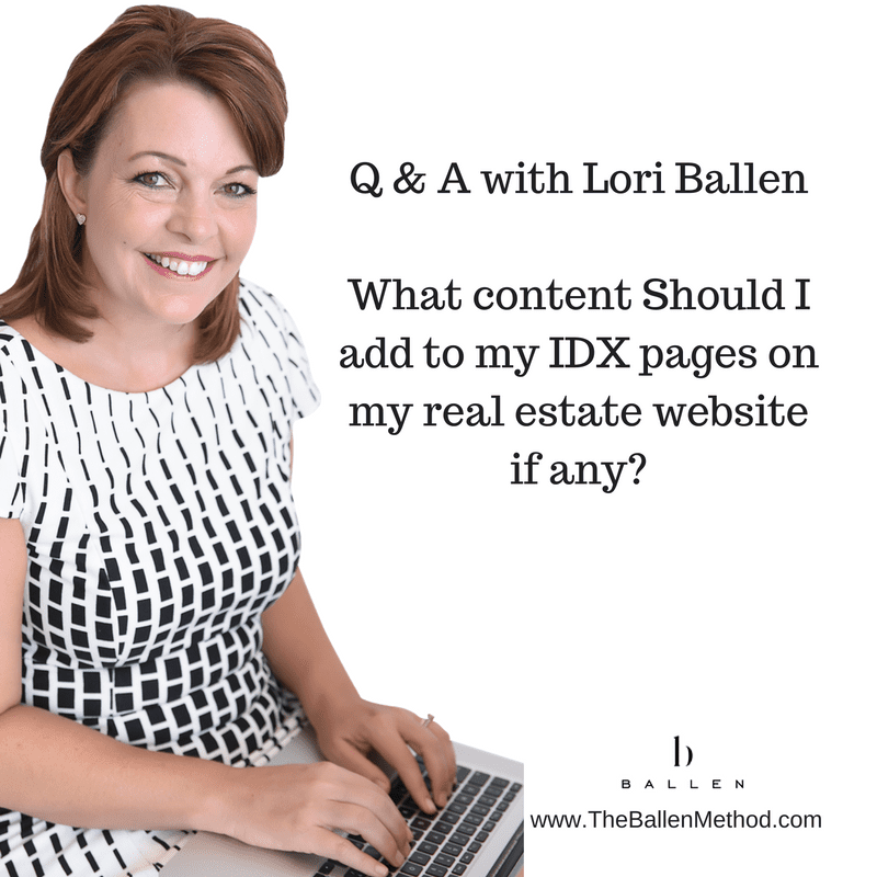 "Lori sits on the computer and answers questions about lead generation: question says ""what content should I add to my idx pages on my real estate website"""