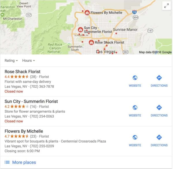 Google Local Pack, 3 pack of listings