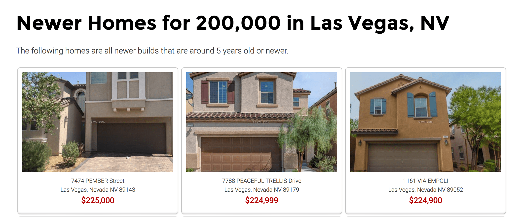 Sample of IDX listings when building a real estate website. Picture of 3 houses with prices