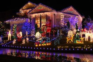house decorated in Christmas lights