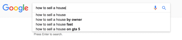 Google Search Engine reads How to Sell a House Fast