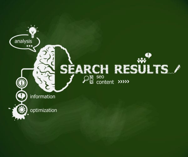 Green chalkboard with illustration of Google Rank Brain