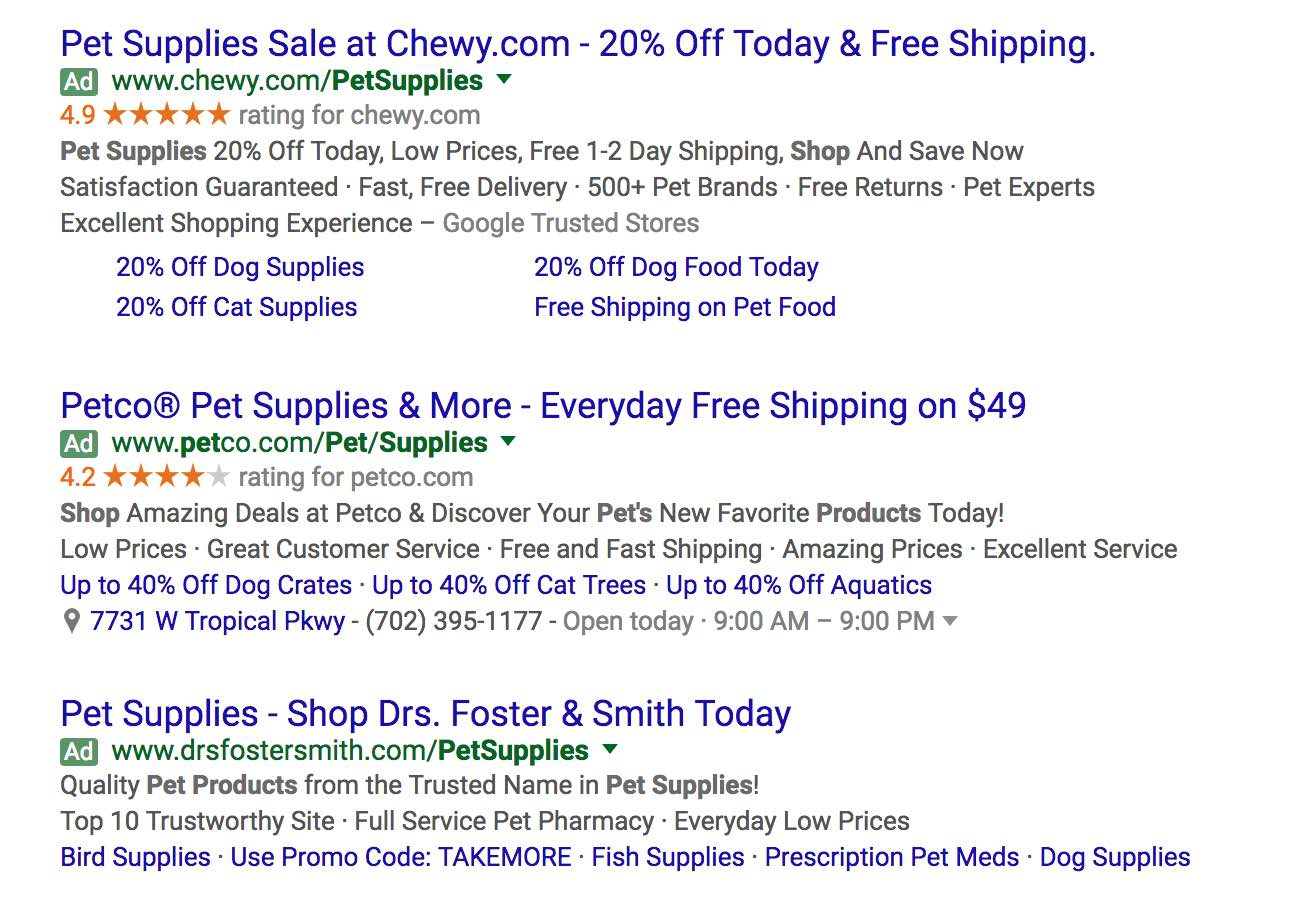 SERP showing Google AdWords SEM results