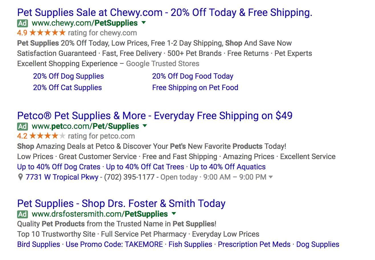 SERP showing Google AdWords SEM results
