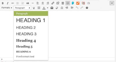 screen shot of H2-H6 tags in WordPress