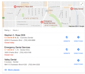 Image of Google Search Results in Las Vegas for Dentists, sorted by local pack and ratings