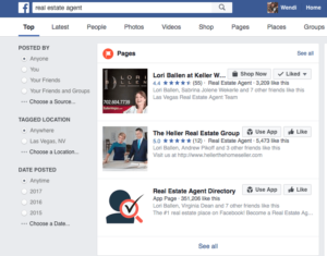 Screen Shot of Facebook Search for Real Estate Agents