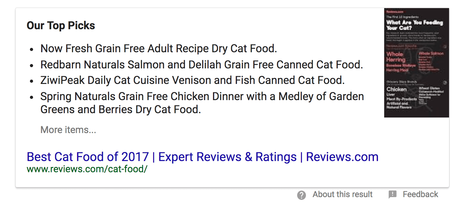 Sample of a rich snippet served up on Google's search engine results page in the knowledge box. Shows a list of the best cat foods.
