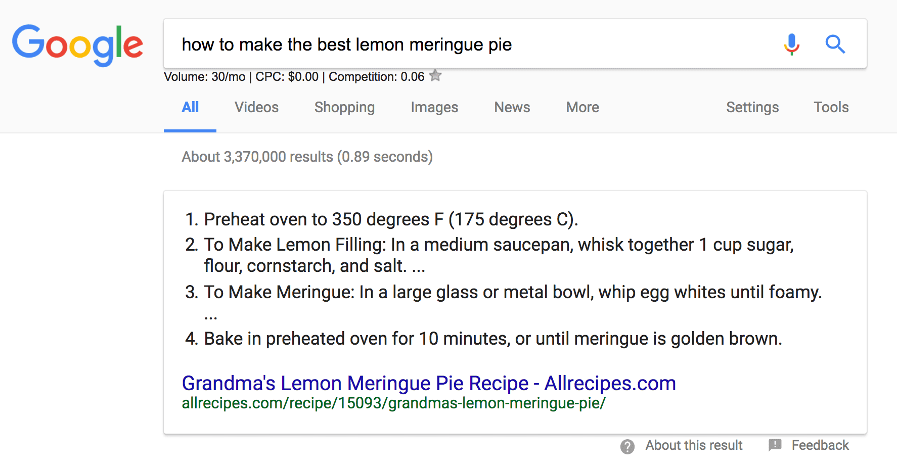 Shown is an answer box on Google's SERP showcasing a recipe which offers steps to making a lemon meringue pie
