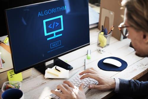 Computer screen shows word Algorighm