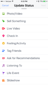 Screen shot of Facebook mobile status update for creating live video