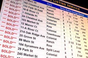 MLS list of sold properties