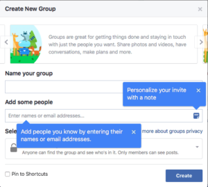 Screen shot for creating a Facebook Group