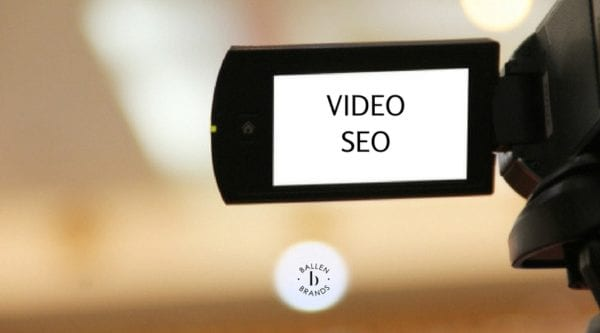Video SEO is spelled out on a video camera