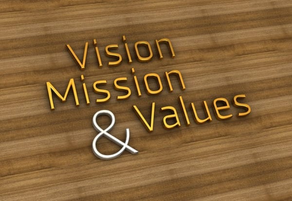 Words Vision, Mission and Values are spelled out in gold and shite on a wood background
