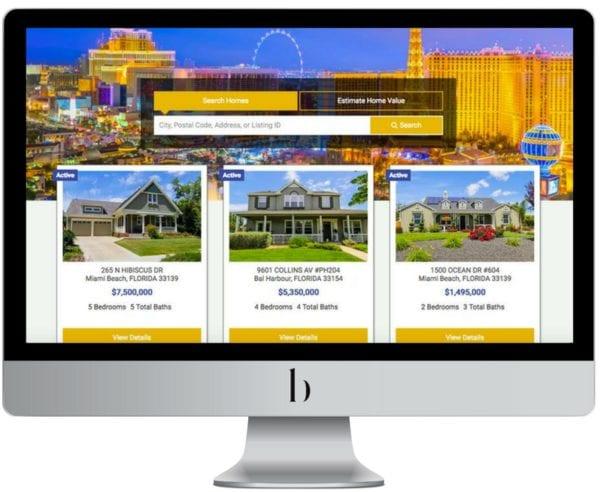 An IDX Real Estate Agent Website is displayed on a mac desktop computer