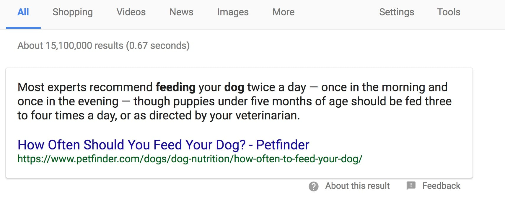 Rich Snippet shows the answer to how often should you feed your dog.