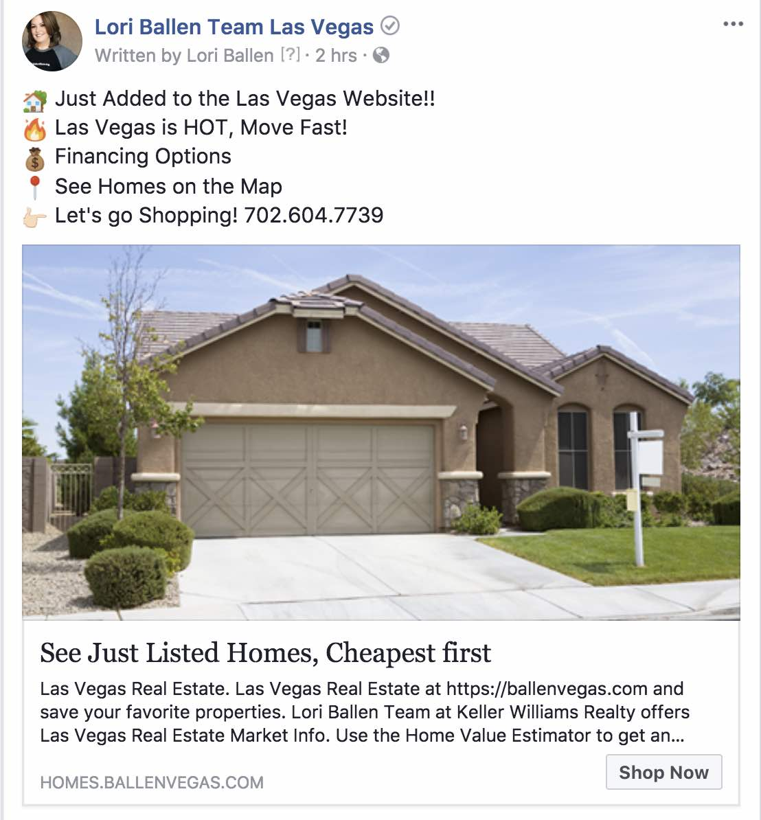 Sample real estate ad used for regargeting a facebook audience based on web traffic