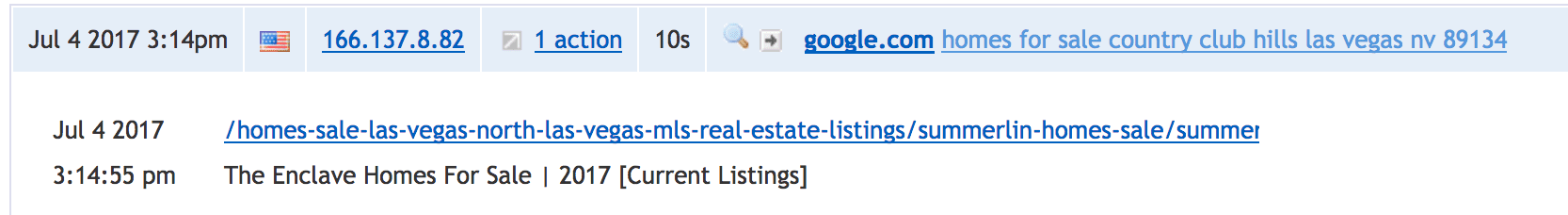 Clicky Analytics Detail Page showing Google.com Search Query for Country Club Hills