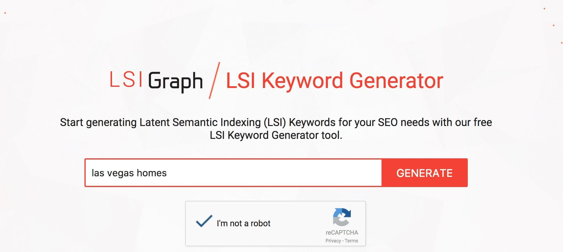 LSI Graph is a Keyword Generator showing a box for the head term to return longtail responses