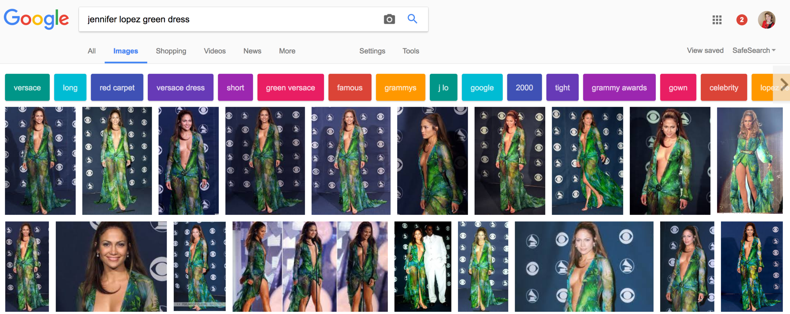 "A keyword is typed into Google Images ""Jennifer Lopez Green Dress"""
