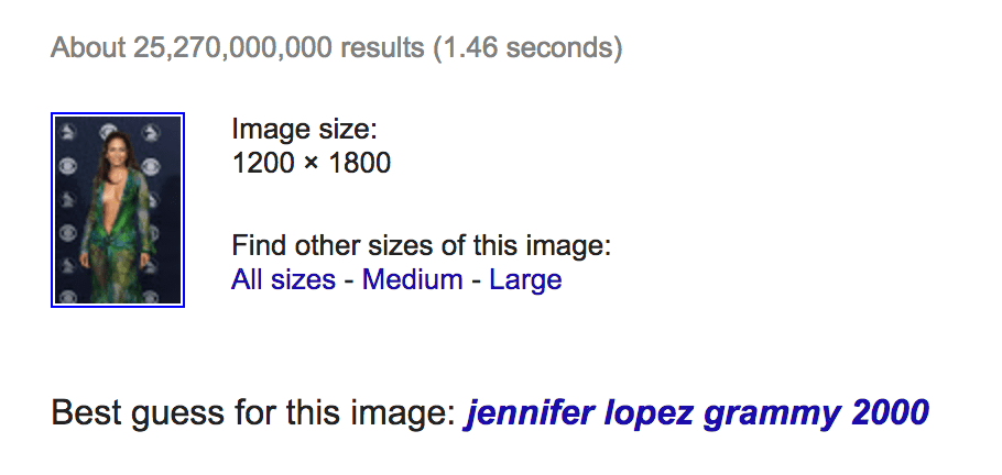 Google Images example of an uploaded picture of Jennifer Lopez and suggested results