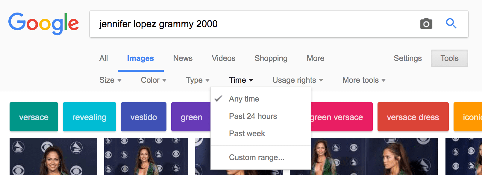 Google Images can sort images by time of post by clicking on the tools tab and choosing Time