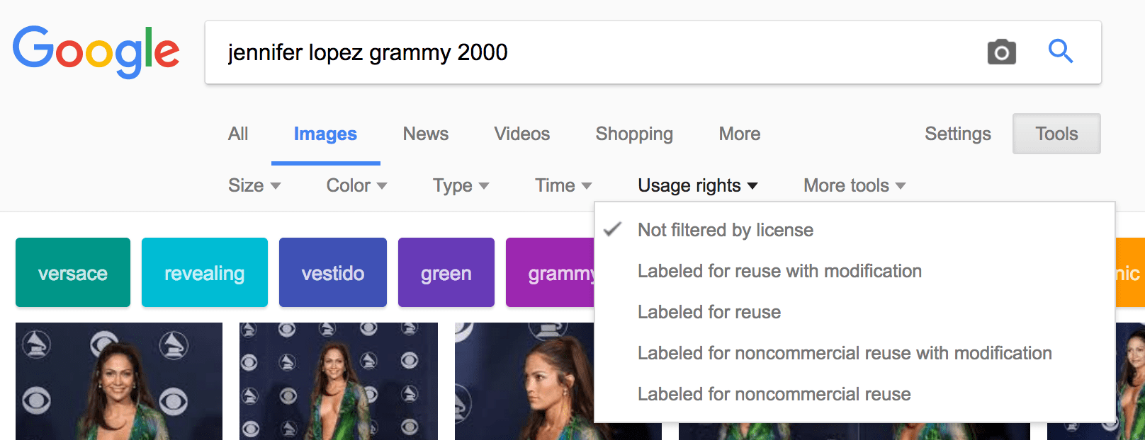Google Image Search is shown, with tools and then usage rights selected to choose copyright free images