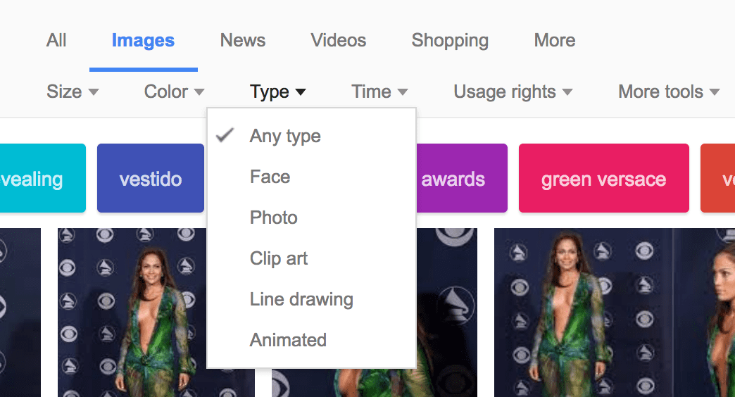 Google Images has Advanced Search options showing here search by type: face, photo, clip art, line drawing, animated