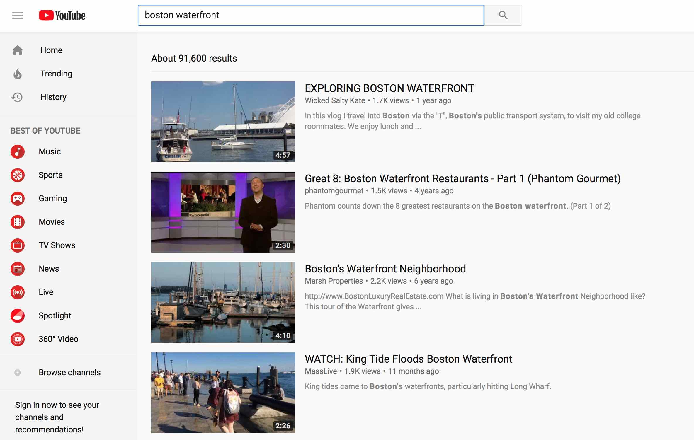 Youtube.com search for boston waterfront reveals video selections on a search engine results page similar to google