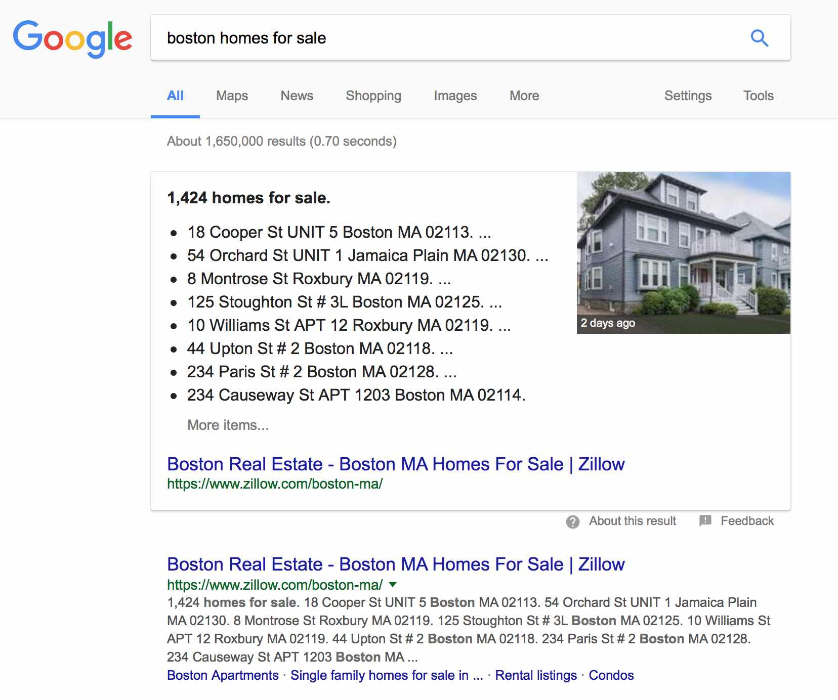 Google SERP shows rich snippet and knowledge panel after typing in boston homes for sale