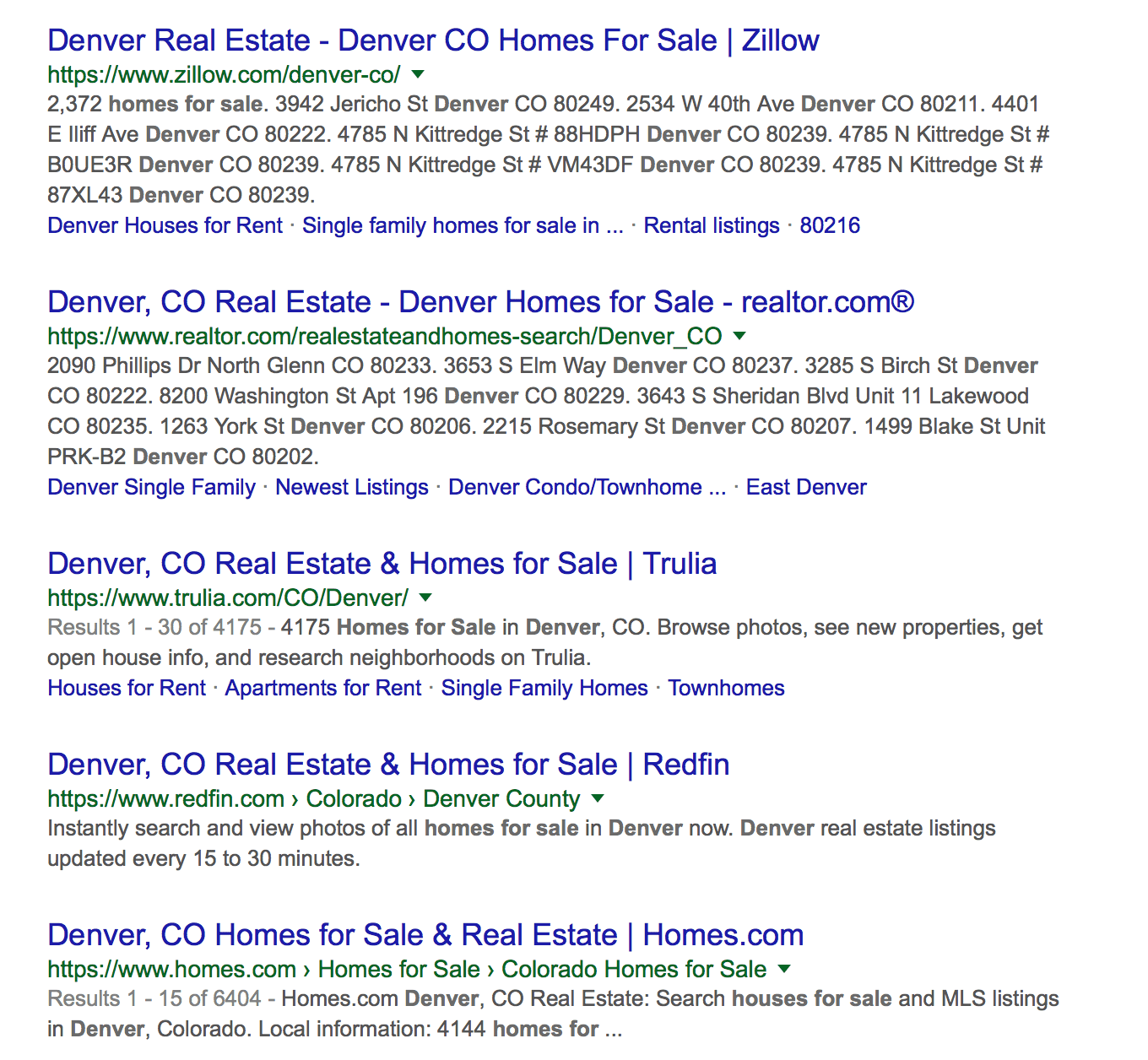 Search term denver homes for sale on Google returns Zillow, Realtor.com, Trulia, Homes.com etc.