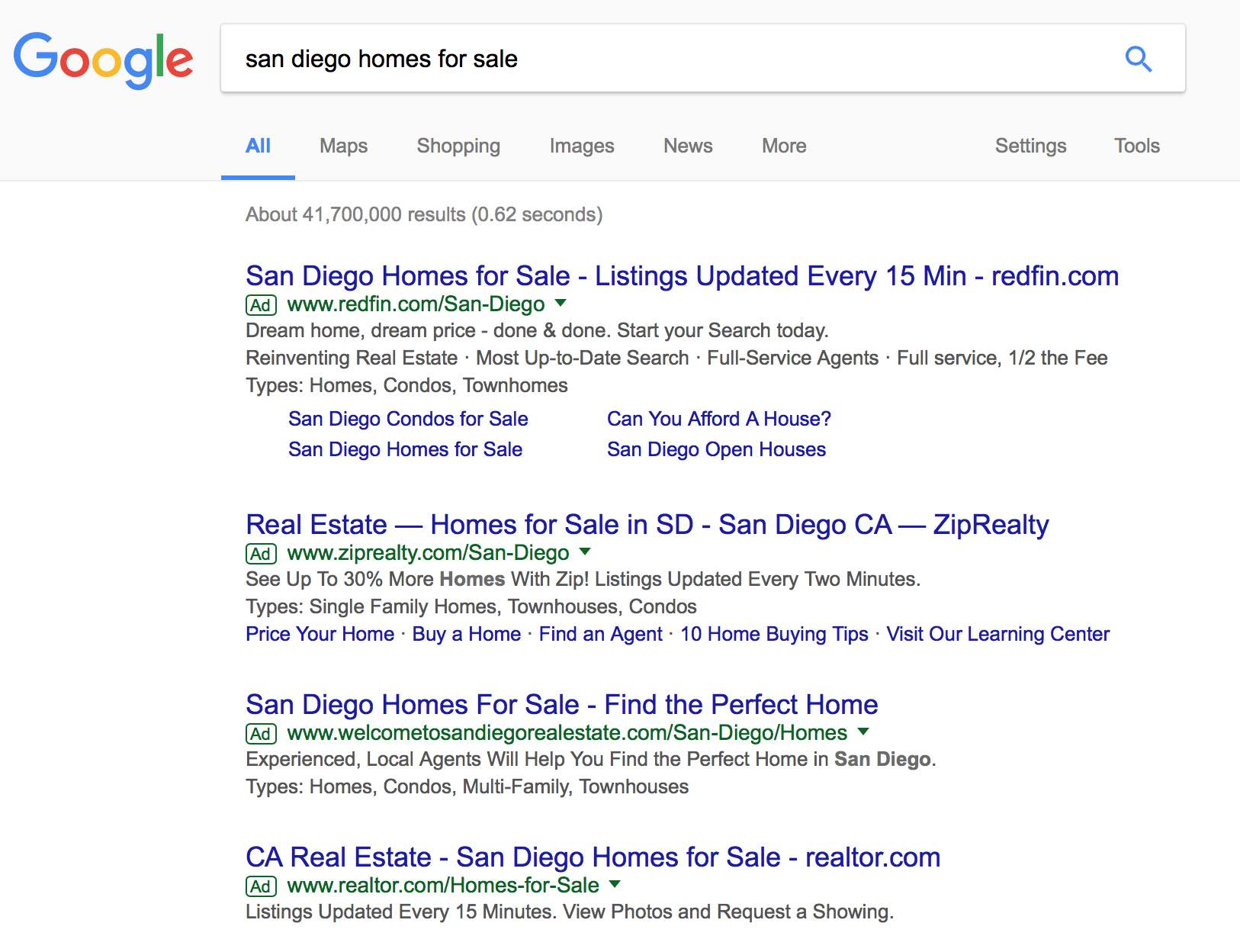 Google search engine results page shows ads in top position for san diego homes for sale